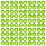 100 document icons set green circle Stock Image