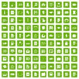 100 document icons set grunge green Stock Photos