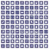100 document icons set grunge sapphire Royalty Free Stock Photo