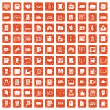 100 document icons set grunge orange. 100 document icons set in grunge style orange color isolated on white background vector illustration Stock Photography