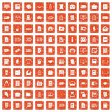 100 document icons set grunge orange. 100 document icons set in grunge style orange color isolated on white background vector illustration vector illustration