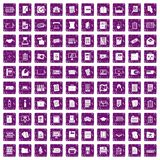 100 document icons set grunge purple. 100 document icons set in grunge style purple color isolated on white background vector illustration Stock Photo