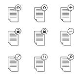 Document icons. Set of isolated icons on a theme documents Stock Images
