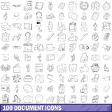 100 document icons set, outline style Stock Photo