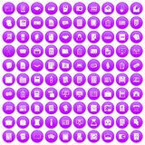 100 document icons set purple. 100 document icons set in purple circle isolated on white vector illustration Vector Illustration