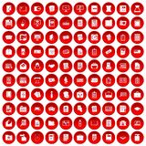 100 document icons set red. 100 document icons set in red circle isolated on white vector illustration Stock Photos