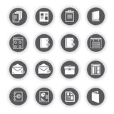 Document icons. Set of 16 document icons, round buttons Royalty Free Stock Photo