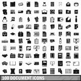 100 document icons set, simple style Royalty Free Stock Photos