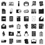 Document icons set, simple style. Document icons set. Simple style of 36 document vector icons for web isolated on white background Stock Images