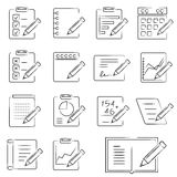 Document icons. Set of 16 document icons in white background Royalty Free Stock Image