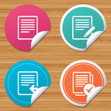 Document icons. Upload file and checkbox. Round stickers or website banners. File document icons. Upload file symbol. Edit content with pencil sign. Select file Stock Photo