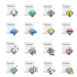 Document icons v.2. A set of 16 document icons Stock Images
