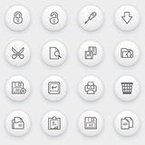 Document icons with white buttons on gray backgrou Royalty Free Stock Photography
