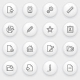 Document icons with white buttons on gray backgrou Stock Images