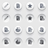 Document icons on white buttons. Set 1. Royalty Free Stock Photos