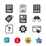 Document icons. XLS, PDF file signs. File document and question icons. XLS, PDF and DOC file symbols. Download or save doc signs. Browser window, Report and Stock Photo