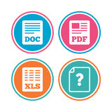 Document icons. XLS, PDF file signs. Royalty Free Stock Photo