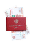 Document identity of the Russian State Duma employee with insert money Stock Photo
