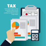 Document infographic calculator icon. Tax design. colorful and flat illustration Stock Images