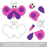 Document jong geitjespel Gemakkelijke toepassing voor jonge geitjes met Roze Vlinder Royalty-vrije Stock Afbeelding
