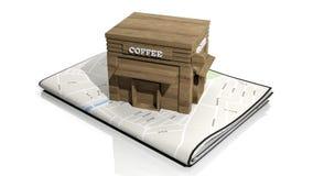Document kaart met 3D houten koffie Stock Afbeeldingen