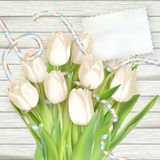 Document kaart met tulpen Eps 10 Royalty-vrije Stock Afbeelding