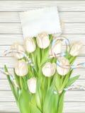 Document kaart met tulpen Eps 10 Stock Fotografie
