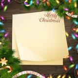 Document Kerstmisdecoratie van de notabanner Eps 10 Royalty-vrije Stock Afbeeldingen