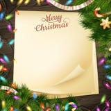 Document Kerstmisdecoratie van de notabanner Eps 10 Stock Foto