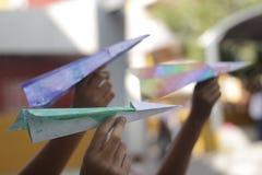 Document kleurrijke vliegtuigen Stock Afbeeldingen