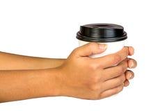 Document koffiecontainer met zwart deksel stock afbeelding