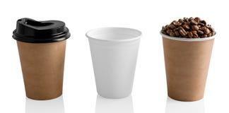 Document koffiekoppen op wit worden geïsoleerd dat Royalty-vrije Stock Afbeelding