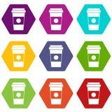 Document kop van de vastgestelde kleur van het koffiepictogram hexahedron Stock Afbeeldingen
