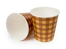 Document kopkoffie op witte achtergrond wordt geïsoleerd die stock afbeeldingen