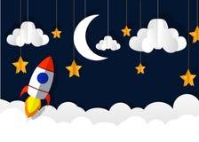 Document kunst die de raket snijden die in ruimte vliegen Concepten bedrijfsidee, opstarten, exploratie stijl royalty-vrije illustratie