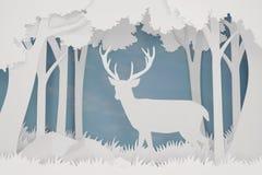 Document kunst en ambachtstijl van Herten in het bos met exemplaar ruimte, 3D teruggevend ontwerp vector illustratie