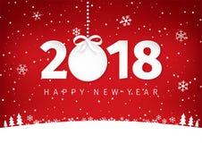 Document kunst met het Gelukkige ontwerp van de Nieuwjaar 2018 tekst Cirkeletiket met een boog Witte en rode vlakke minimale land Stock Afbeelding