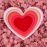 Document kunst, origami, bloemen en het concept van de valentijnskaart\ 's dag, vector Royalty-vrije Stock Foto's