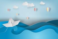 Document kunst van boot en ballon met gemaakte origami Stock Afbeelding