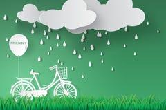 Document kunst van fiets in groene tuin met regenachtig seizoen Stock Afbeelding