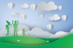 Document kunst van Groene gelukkige familie die pret het spelen hebben Stock Afbeelding