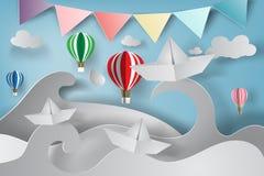 document kunst van origami gemaakt tot varende boot vector illustratie