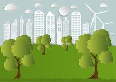Document kunst van Stad met Bomen en Wolken Het Concept van de ecologieorigami stock illustratie