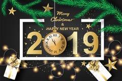 Document kunst van vrolijke Kerstmis en gelukkig nieuw jaar 2019 met zwarte stock illustratie