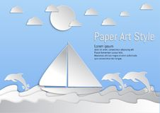 document kunststijl Overzees en golven met zeilboot en Dolfijn Vector illustratie royalty-vrije illustratie