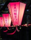 Document lantaarns bij nacht tijdens het festival van de kersenbloesem over Meguro-rivier worden aangestoken die royalty-vrije stock foto