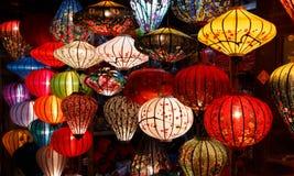 Document lantaarns op de straten van Hoi An Royalty-vrije Stock Afbeeldingen
