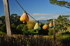 Document lantaarns, romantisch landschap, Nieuw Zeeland stock foto's
