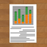 Document with layer chart. Business development analysis on rate diagram, vector illustration Stock Image