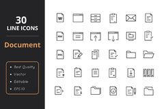 30 Document Line Icon. High quality document line icons. Icons for user interfaces and web Stock Image